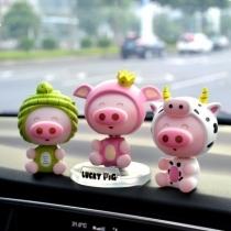 大桔猪12生肖汽车摇头摆件车内可爱卡通公仔