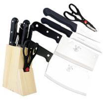 【烹饪厨具】 名厨 不锈钢刀具八件套砍骨刀菜刀剪刀磨刀棒厨具套装D-1003
